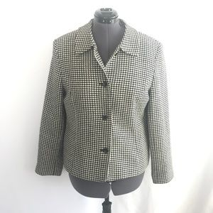 Talbots Black & White Button Down Pea Coat